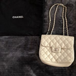 Chanel ivory grain leather silver hardware flapbag